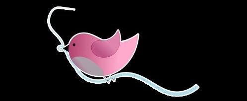 Tintenmeer | Piepmatz | Inkscape | Blaues Band | besondere Bücher | Vögelchen | rosa | Sticker