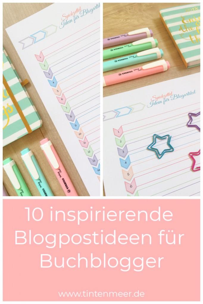 10 inspirierende Blogpostideen für Buchblogger | Blogger | Vorlage zum Ausdrucken | Printables | Inspiration | Idee| Blogartikel | Schreibblockade | Blogtour |