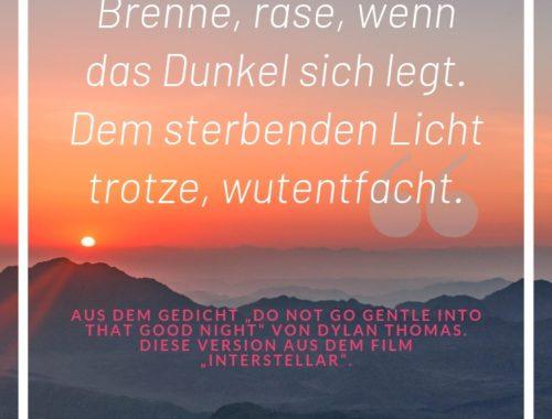 Pinterest-Grafik Geh nicht gelassen in die gute Nacht Interstellar Gedicht